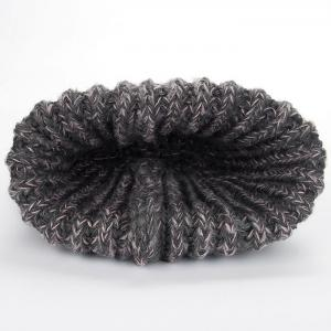 Letter Label Embellished Flanging Knitted Pom Beanie -