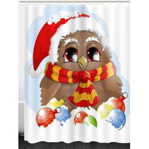 Waterproof Christmas Bird Printed Shower Curtain -
