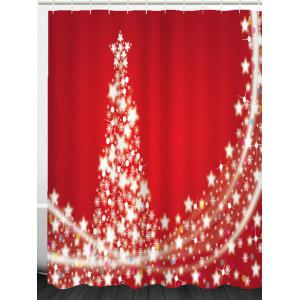 Waterproof Christmas Stars Tree Printed Shower Curtain -