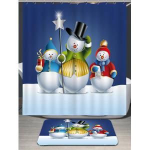 Waterproof Three Snowmen Printed Shower Curtain -