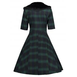 Plaid Faux Fur Panel Vintage Dress -