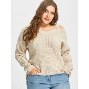 Plus Size High Low Cold Shoulder Sweater -