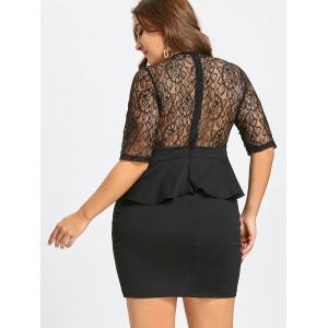 Plus Size Lace Insert Peplum Bodycon Dress -