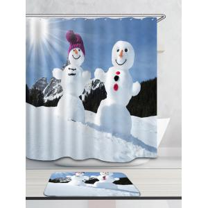 Sunshine Snowmen Couple Pattern Shower Curtain -