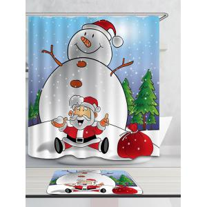 Bonhomme de neige et Santa Claus Patterned Shower Curtain -