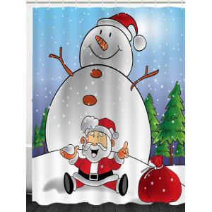 Snowman And Santa Claus Patterned Shower Curtain -