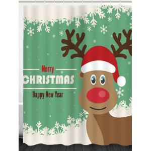 Christmas Elk Snowflakes Patterned Shower Curtain -