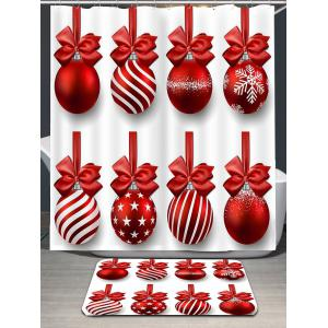 Christmas Hanging Balls Pattern Shower Curtain -