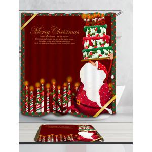 Santa Claus Cake And Candles Patterned Shower Curtain -