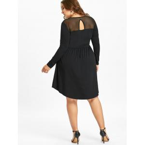Plus Size Mesh Trim Cutout Long Sleeve Dress -