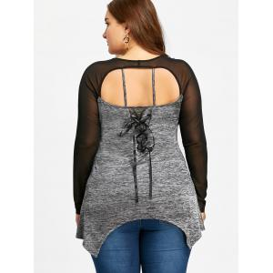 Plus Size Sheer Marled Cut Out T-shirt -