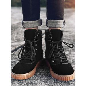 Rubber Sole Lace Up Ankle Boots -