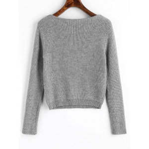 V Neck Cropped Pullover Sweater -