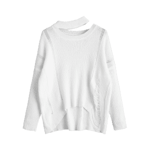 Destroyed Cutout High Low Pullover Sweater -