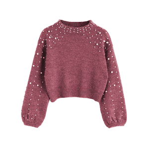 Mock Neck Faux Pearl Sweater -