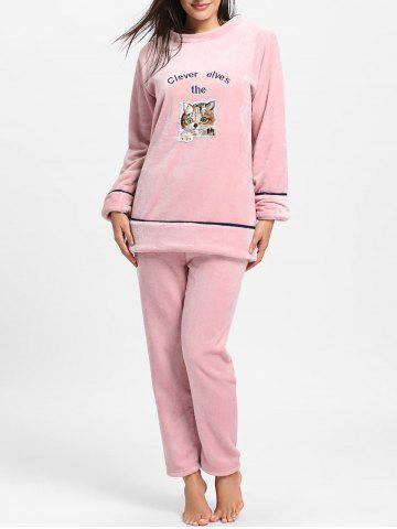 Shops Cute Kitten Graphic Fleece Pajama Set