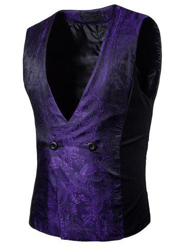 Online Paisley V Neck Double Breasted Waistcoat