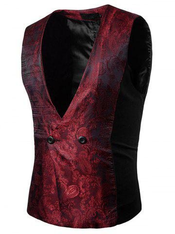 Outfits Paisley V Neck Double Breasted Waistcoat
