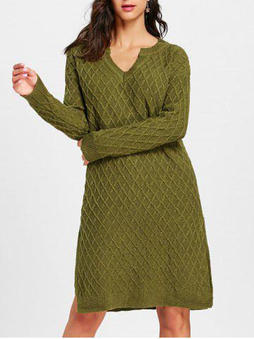Store Argyle V Neck High Slit Sweater Dress