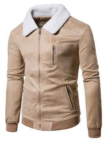 Buy Ribbed Faux Fur Collar Zip Up Suede Jacket