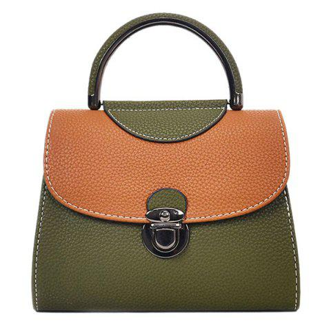 Online PU Leather Color Blocking Handbag With Strap