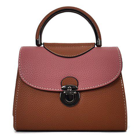 Outfits PU Leather Color Blocking Handbag With Strap