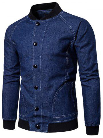 Raglan Sleeve Suture Denim - Veste de baseball