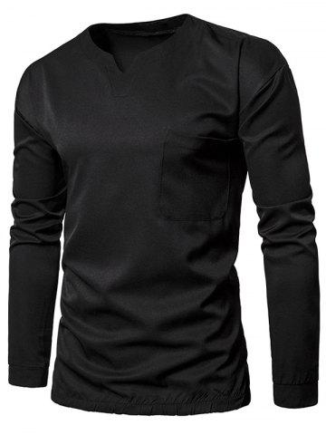 Discount Elastic Waist Pocket Long Sleeve T-shirt