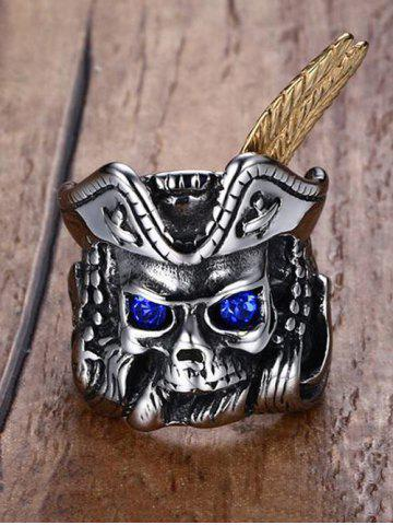 Discount Vintage Rhinestone Stainless Steel Pirate Skull