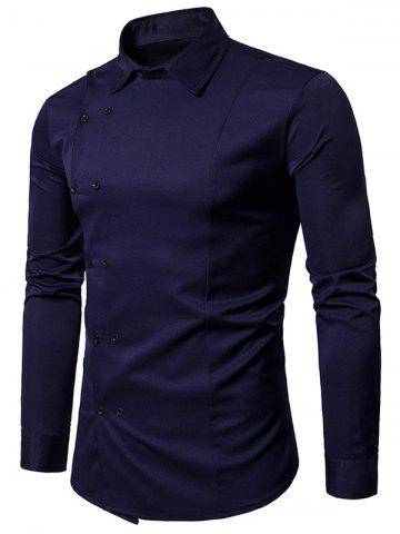 Outfit Long Sleeve Oblique Double Breasted Shirt