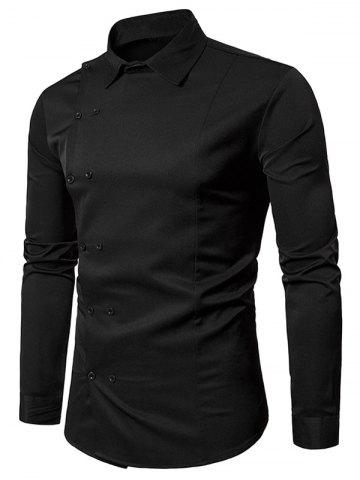 Fancy Long Sleeve Oblique Double Breasted Shirt