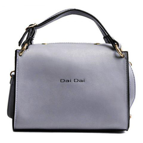 Fashion Letter Print PU Leather Handbag With Strap