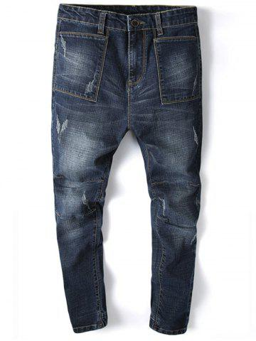 Unique Beam Feet Pocket Design Tapered Jogger Jeans
