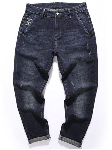 Cheap Tapered Fit Zip Fly Graphic Jeans