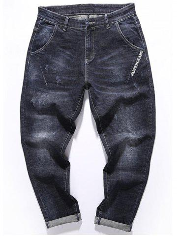 Store Tapered Fit Zip Fly Graphic Print Jeans