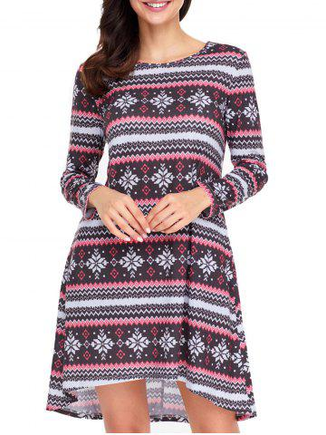 Discount Christmas Long Sleeve Snowflake Print Dress