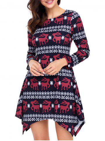 Cheap Christmas Long Sleeve Deer Print Asymmetric Dress