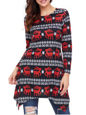 Fashion Christmas Long Sleeve Deer Print Asymmetric Dress