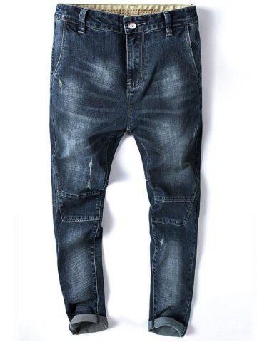 Trendy Tapered Fit Zip Fly Whisker Jeans
