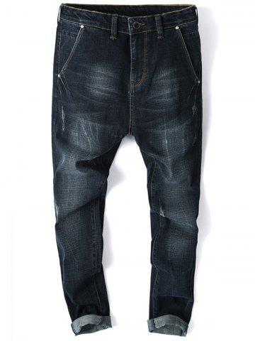 Cheap Whisker Design Zip Fly Tapered Jeans
