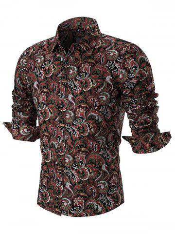 Latest Turn Down Paisley Print Casual Shirt