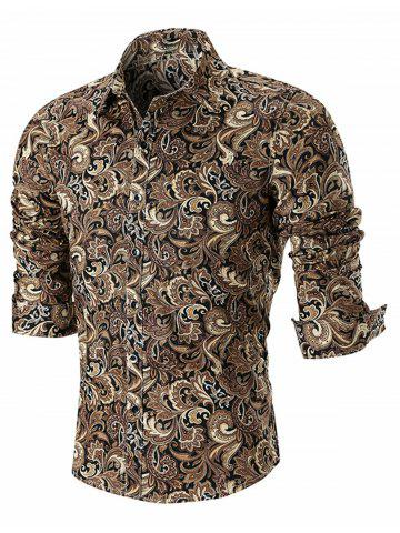 Hot Turn Down Paisley Print Casual Shirt