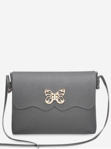 Outfits PU Leather Metal Embellished Butterfly Crossbody Bag