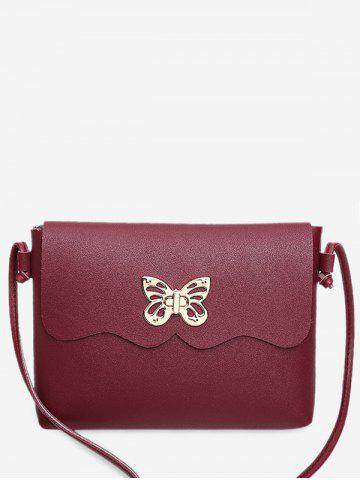Unique PU Leather Metal Embellished Butterfly Crossbody Bag