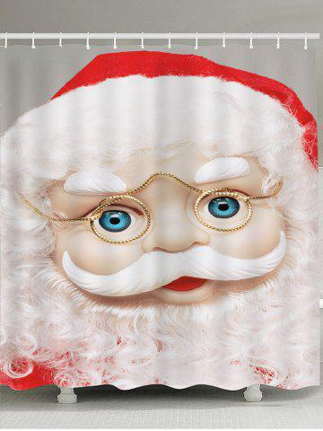 Fancy Waterproof Eyeglasses Santa Claus Pattern Shower Curtain