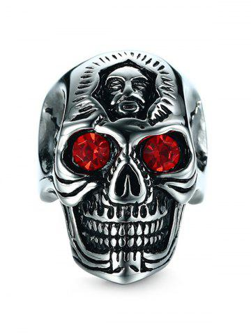 Fancy Rhinestone Engraved Skull Stainless Steel Ring