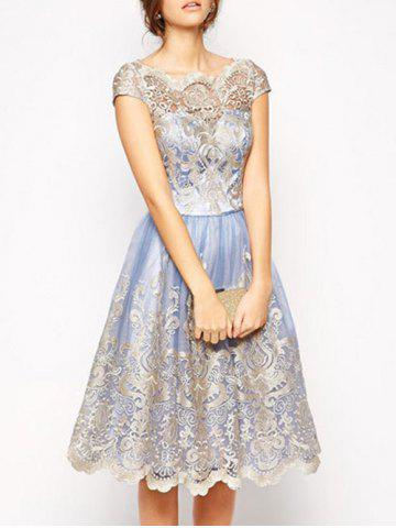 Affordable Lace Panel A Line Tulle Party Dress