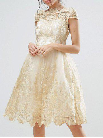 Cheap Lace Panel A Line Tulle Party Dress