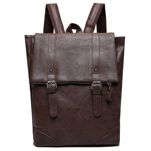 Fancy Buckle Straps Faux Leather Backpack With Handle