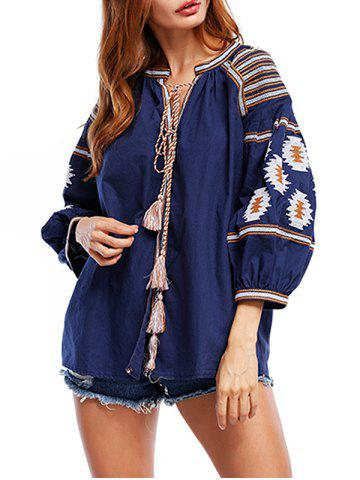 Discount Tassels Ethnic Print Blouse